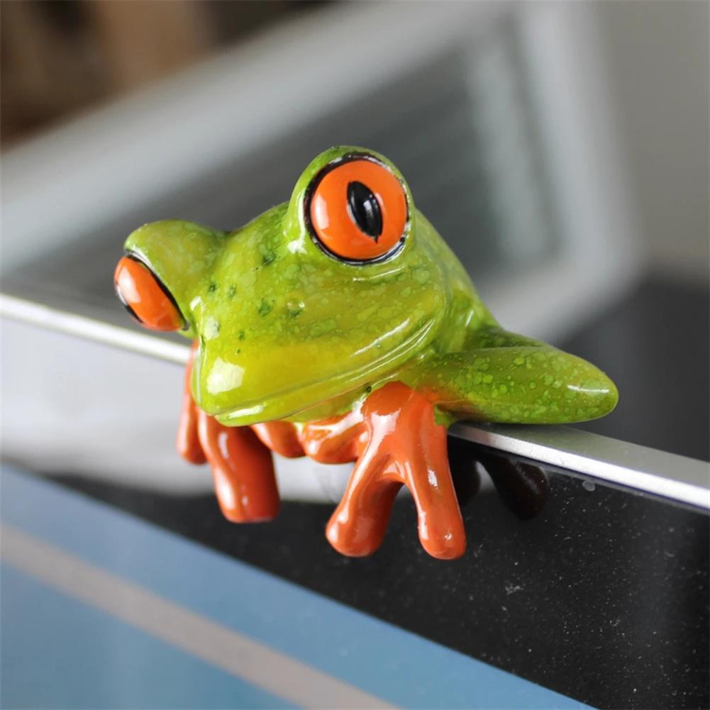 other-learning-office-supplies 1pc 3D Resin Frog Craft Ornament Creative Miniature Statue office Desk Computer Decoration Front Style Kids Toys Gift HOB1782586 1