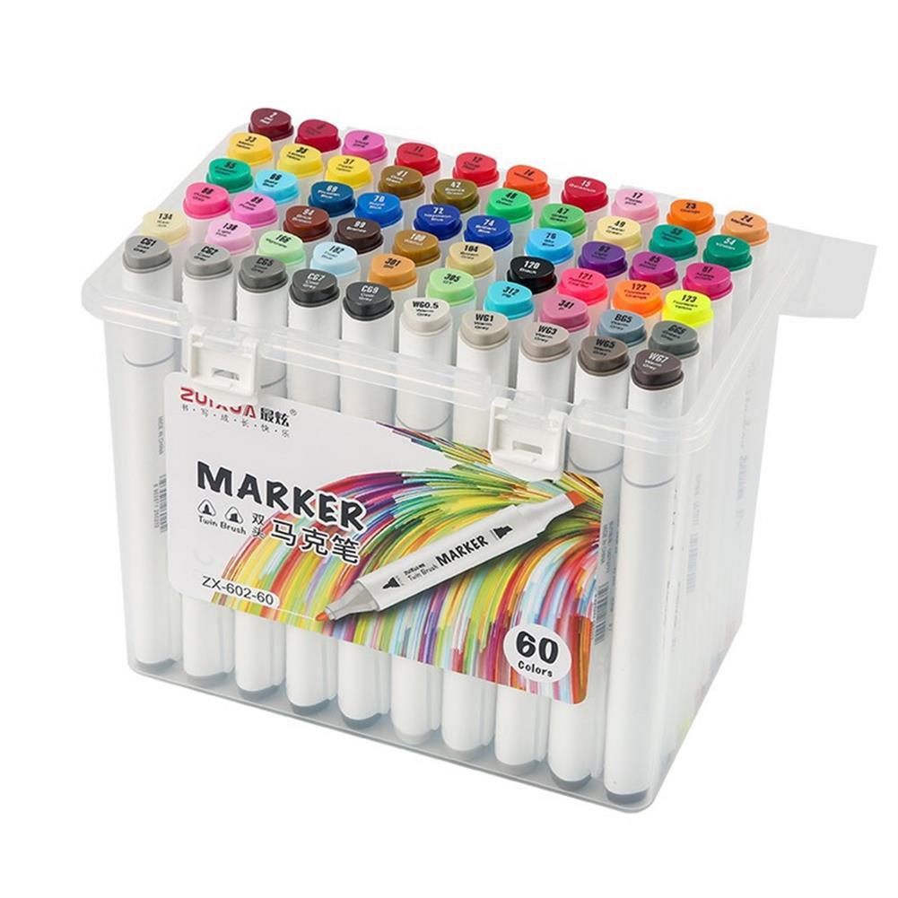 marker ZUIXUA 602 36/48/60/80 Colors Dual Head Marker Pen Set Art Markers Brush Pen Sketching Oil Alcohol Drawing Stationery HOB1782924 1