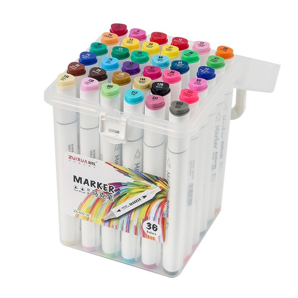 marker ZUIXUA 602 36/48/60/80 Colors Dual Head Marker Pen Set Art Markers Brush Pen Sketching Oil Alcohol Drawing Stationery HOB1782924 3 1