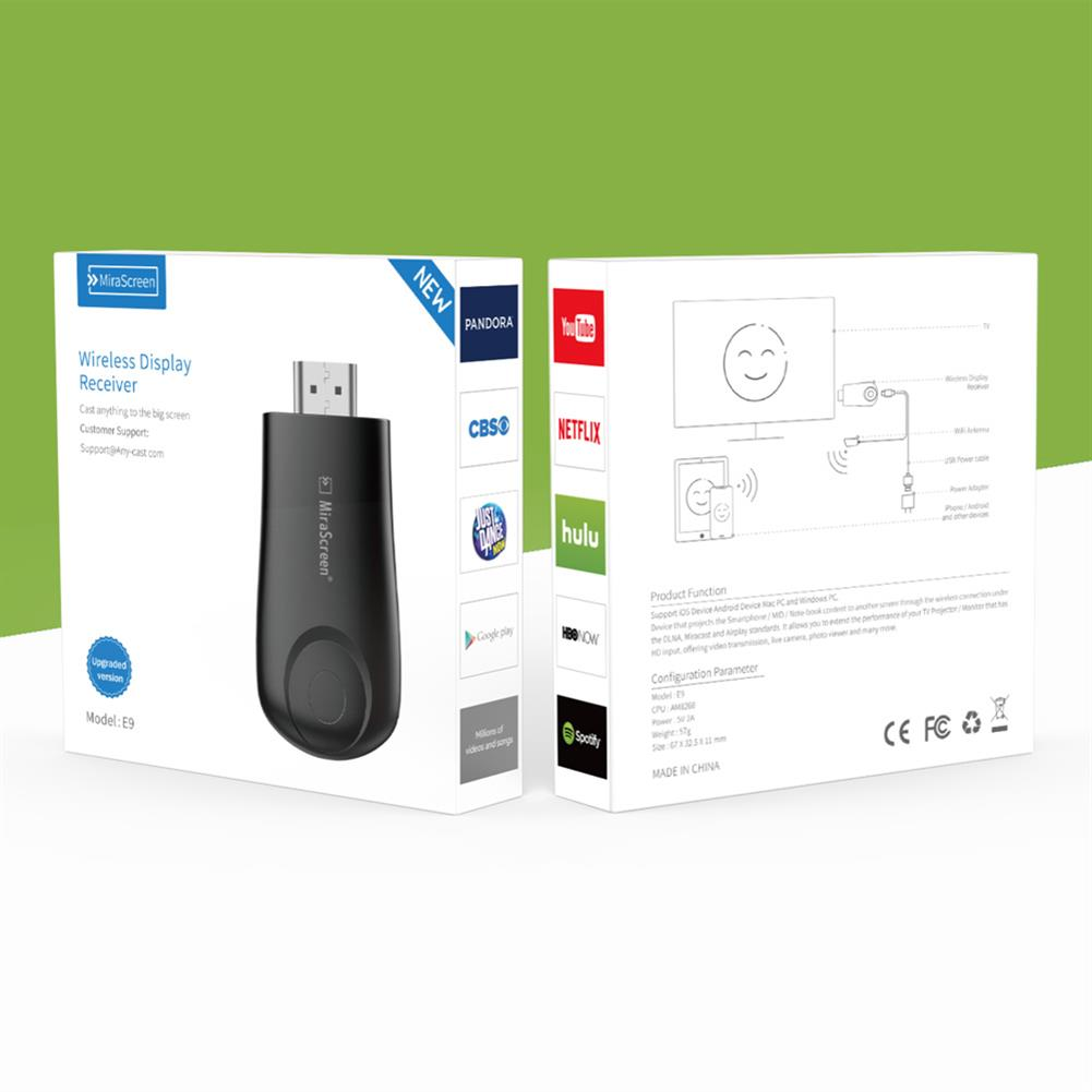 display-dongle MiraScreen E9 HD TV Stick Display Dongle 2.4G Wireless WiFi Receiver Miracast Display Receiver HOB1783512 1 1