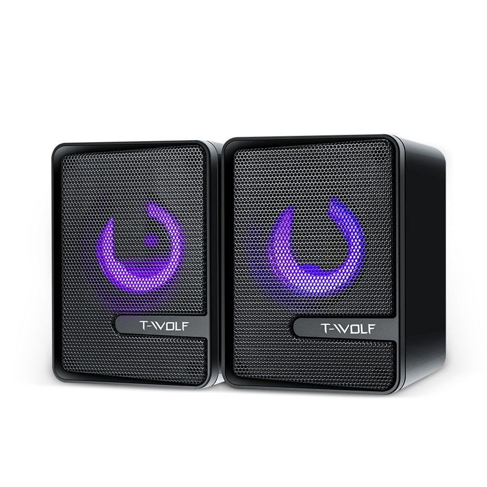 computer-speakers T-Wolf S3 Computer Speaker 4D Surround Sound Cool Light Double Diaphragm Subwoofer Power Bass USB Power Support 3.5mm Audio Port HOB1783850 1