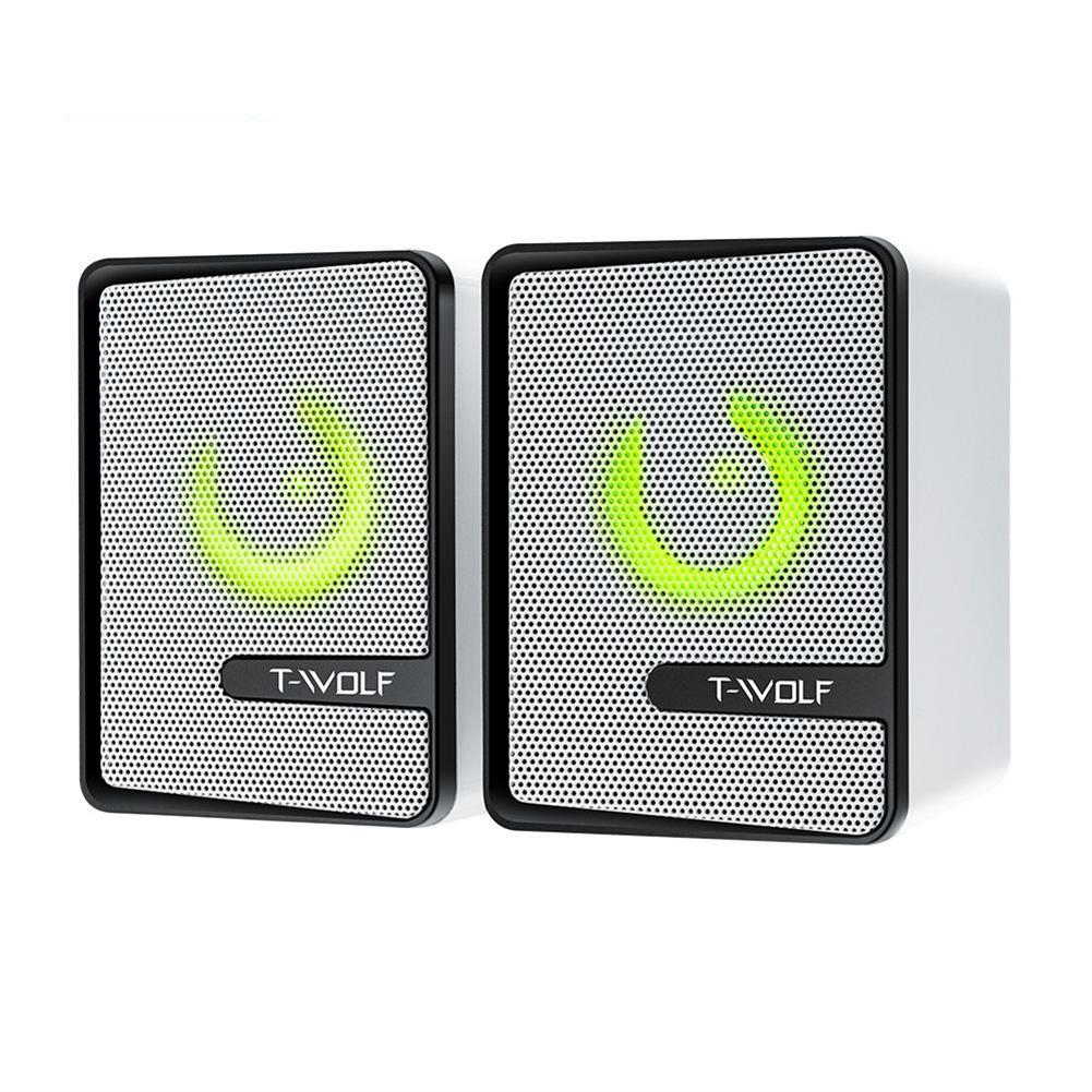 computer-speakers T-Wolf S3 Computer Speaker 4D Surround Sound Cool Light Double Diaphragm Subwoofer Power Bass USB Power Support 3.5mm Audio Port HOB1783850 1 1