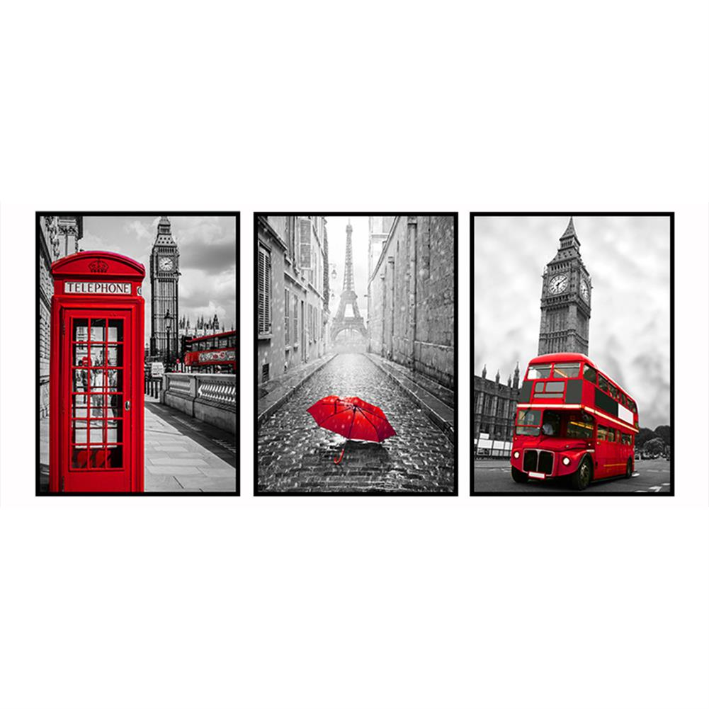 art-kit 3Pcs City Scenery Canvas Paintings Wall Decorative Print Art Pictures Unframed Wall Hanging Home office Decorations HOB1783981 1