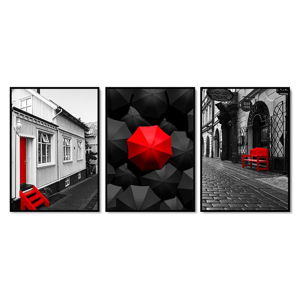 art-kit 3Pcs City Scenery Canvas Paintings Wall Decorative Print Art Pictures Unframed Wall Hanging Home office Decorations HOB1783981 1 1