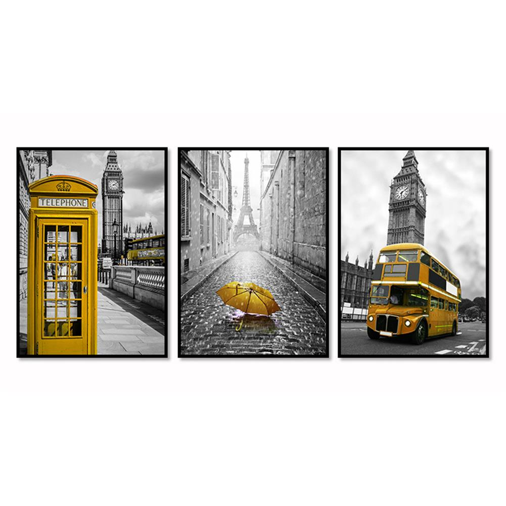 art-kit 3Pcs City Scenery Canvas Paintings Wall Decorative Print Art Pictures Unframed Wall Hanging Home office Decorations HOB1783981 2 1