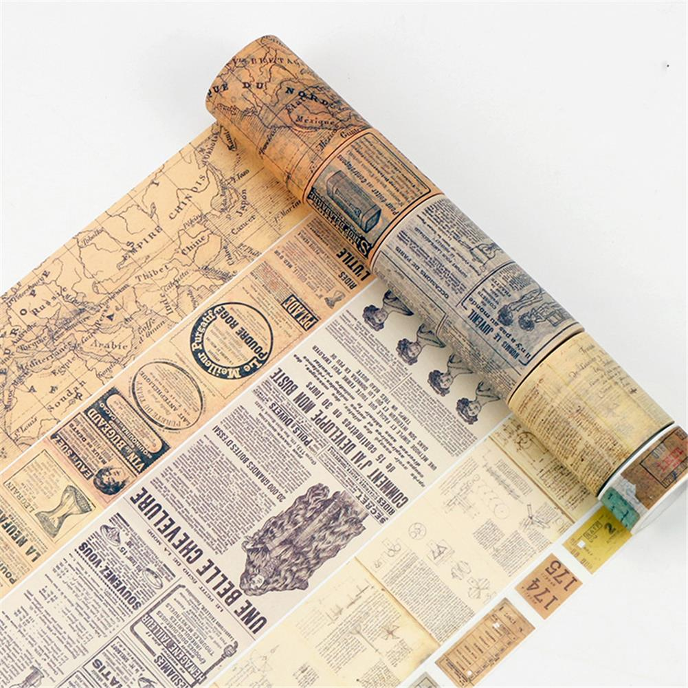 stationery-tape Retro Washi Tape 8 Meters OldTicket Newspaper World Map Pattern Tape Student Journal Diary Decoration Stationery Sticker HOB1784326 1