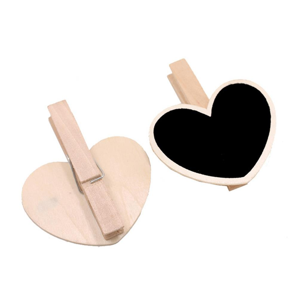 other-learning-office-supplies 10pcs Mini Wooden Blackboard DIY Rectangle Heart Shape Clip Tag for Wedding Restaurant Party office Supplies Gift Stationery HOB1784736 1 1