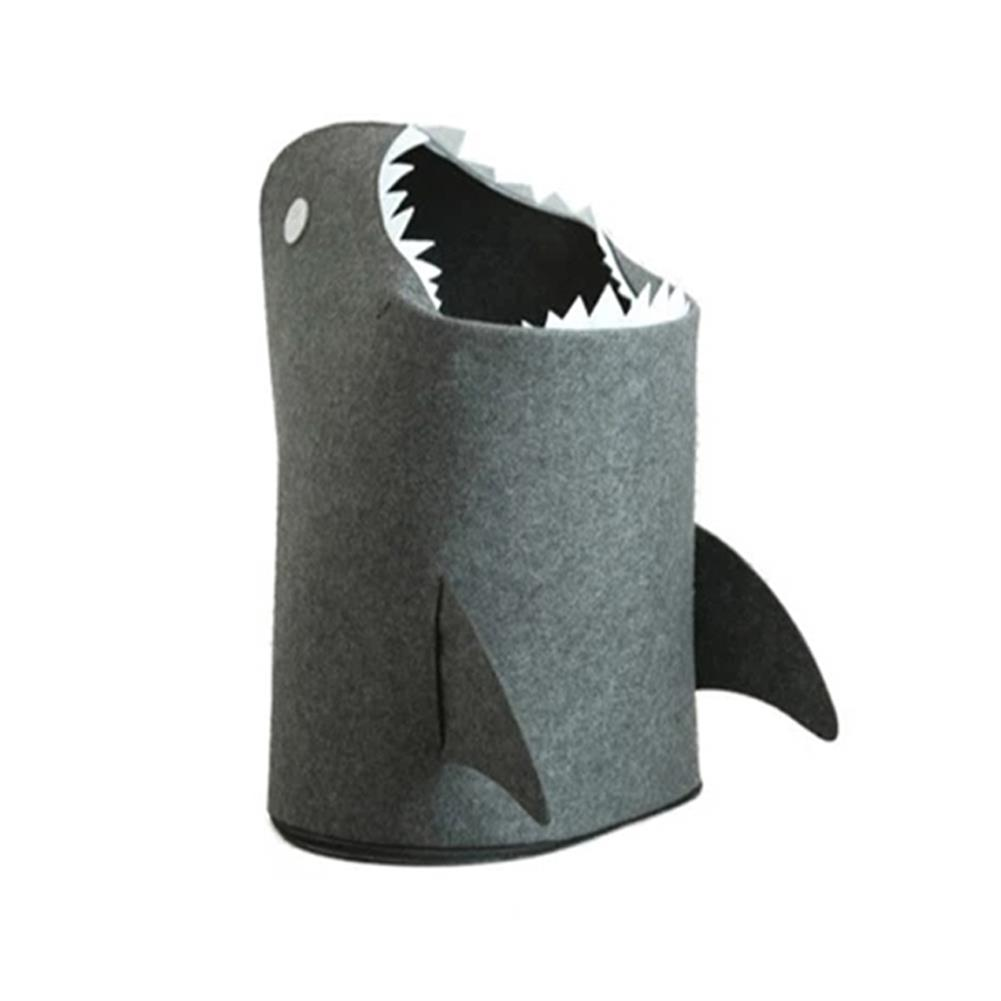 other-learning-office-supplies 1pc Shark Shaped Felt Storage Basket Multi-Functional Cartoon Storage Box for Toys Clothes Basket Bags Home Storage Organizer HOB1784831 3 1