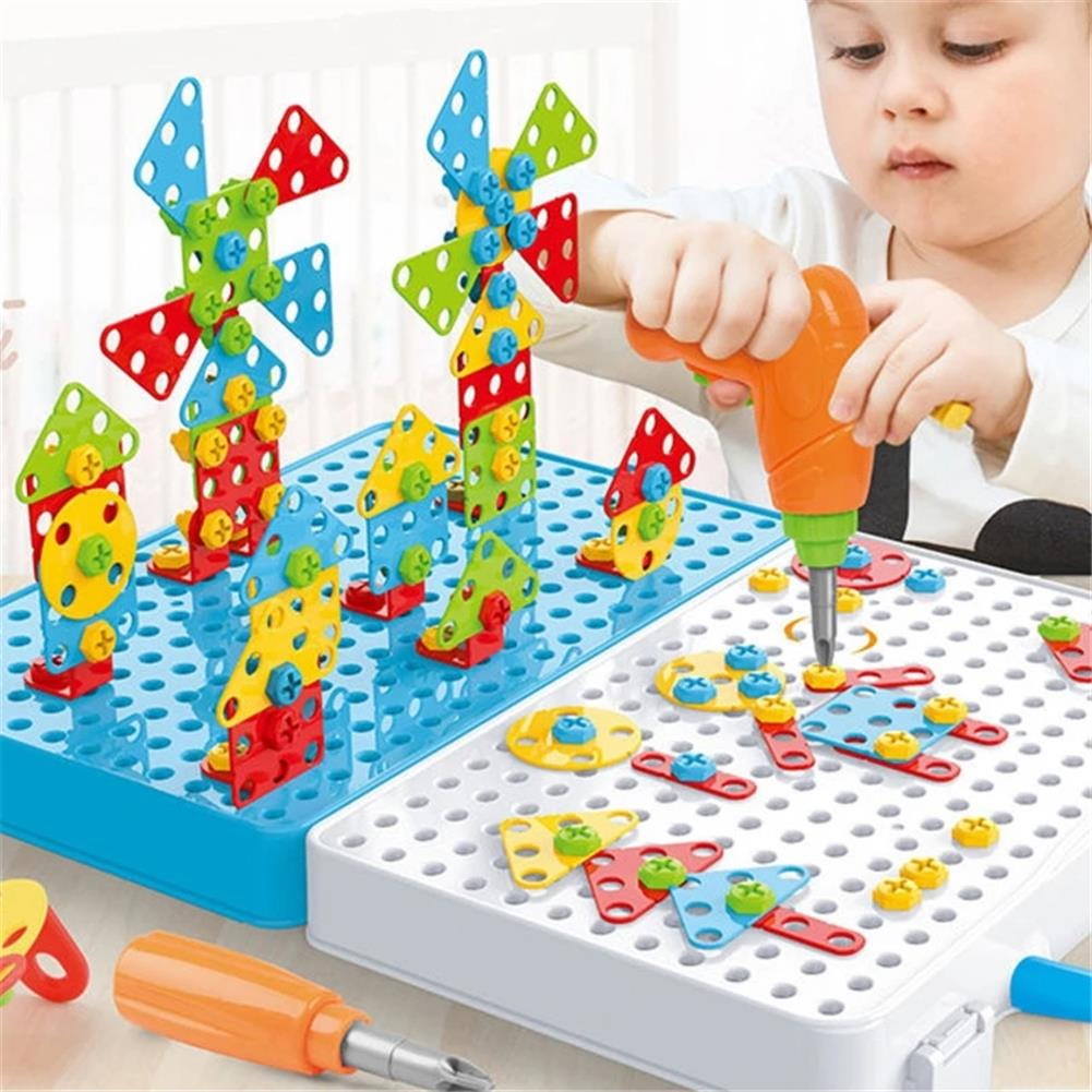 other-learning-office-supplies 288pcs 3D Electric Drill Screwing Block Toys Assembly Tools Sets DIY 3D Blocks Model Sets Educational Toys for Childrens HOB1785369 2 1