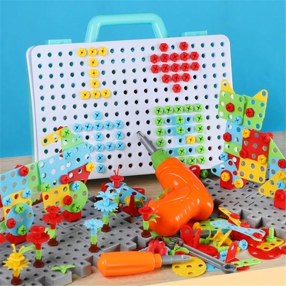 other-learning-office-supplies 288pcs 3D Electric Drill Screwing Block Toys Assembly Tools Sets DIY 3D Blocks Model Sets Educational Toys for Childrens HOB1785369 3 1