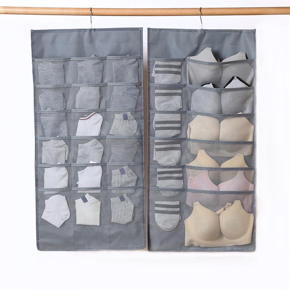multi-function-folder, filing 30 Pockets Hanging Underwear Storage Bag Double Sided Wall Door Bra Socks Hanging Closet Wardrobe Organizer HOB1785497 1
