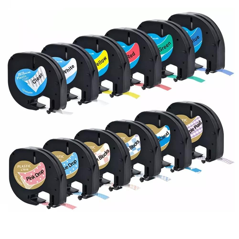 labels CIDY 1 Roll 12mm 3D Embossing PVC Label Tape Compatible Dymo Label Cassette for Dymo LetraTag Printer HOB1786031 1
