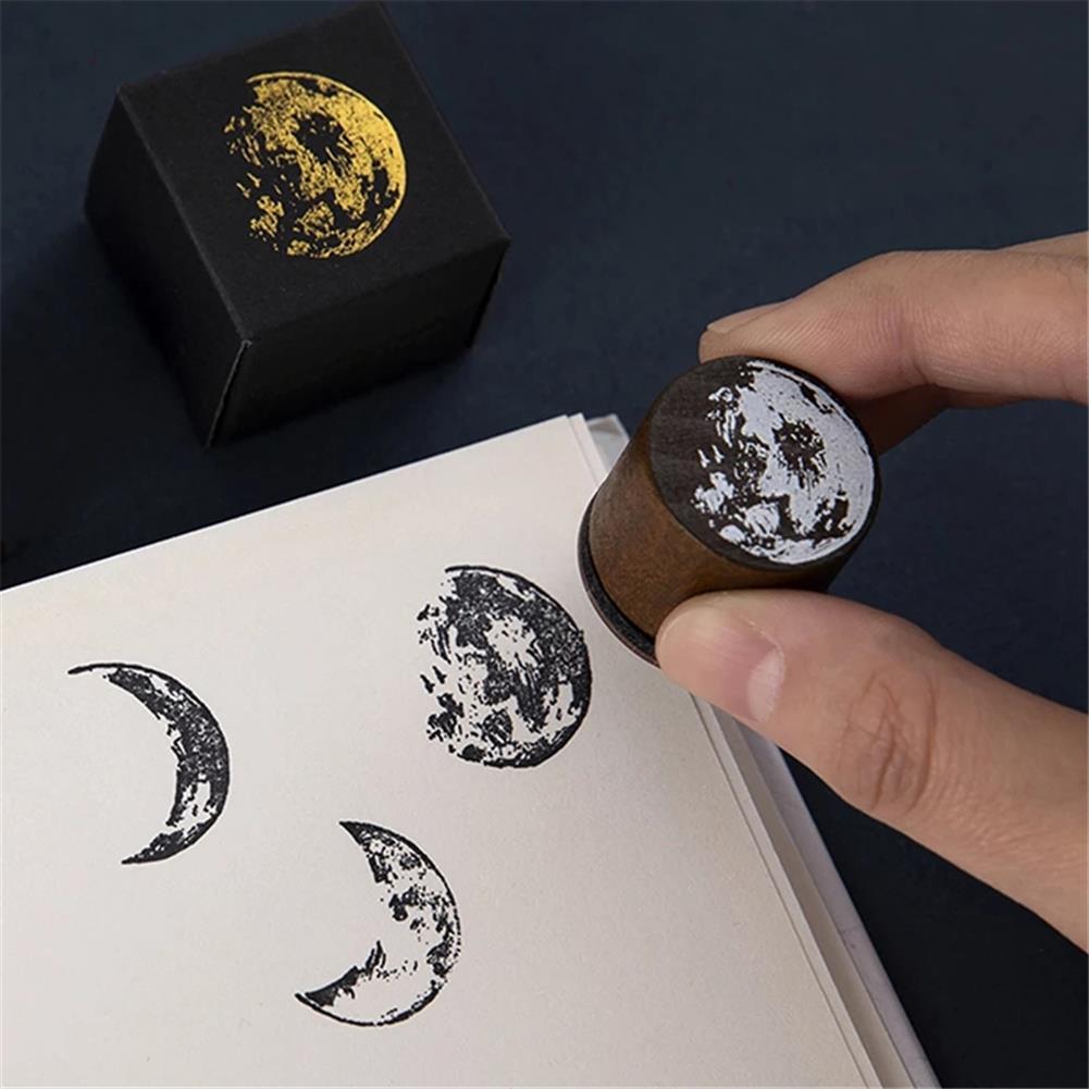 seal-ink-stamp Vintage Moon Series Wood Seal DIY Craft Wooden Rubber Stamps for Scrapbooking Stationery Scrapbooking Standard Stamp HOB1786135 1 1
