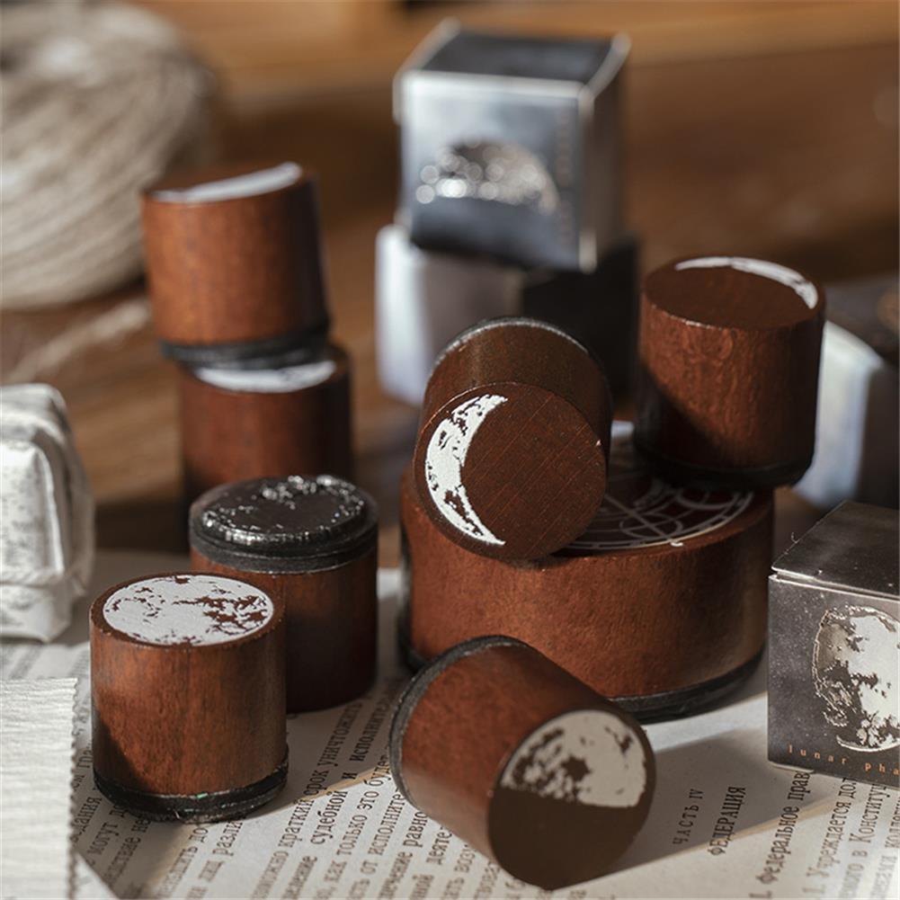 seal-ink-stamp Vintage Moon Series Wood Seal DIY Craft Wooden Rubber Stamps for Scrapbooking Stationery Scrapbooking Standard Stamp HOB1786135 2 1
