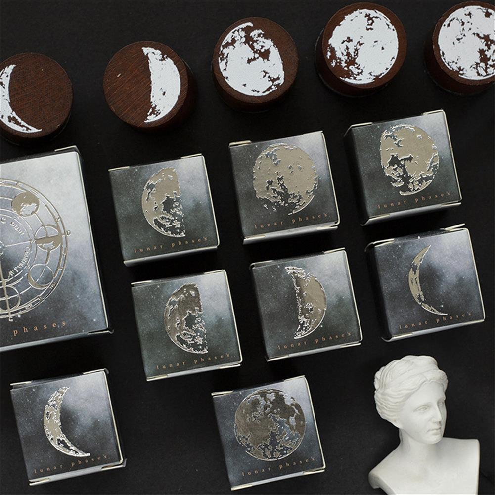 seal-ink-stamp Vintage Moon Series Wood Seal DIY Craft Wooden Rubber Stamps for Scrapbooking Stationery Scrapbooking Standard Stamp HOB1786135 3 1