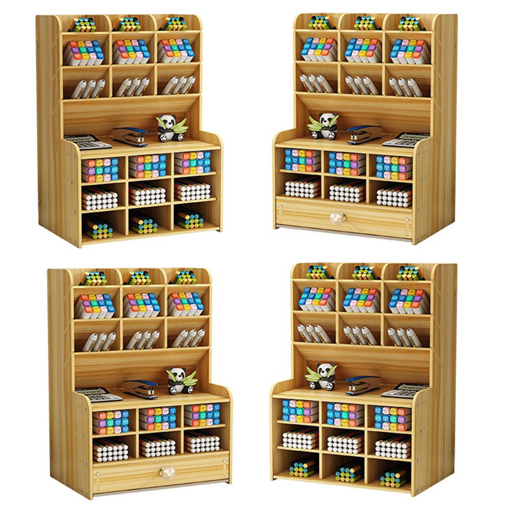 pen-holders, filing Wooden Pen Holder 7 Layers Multi-Functional DIY Desktop Stationary Organizer Home office Supply Storage Rack HOB1786750 1