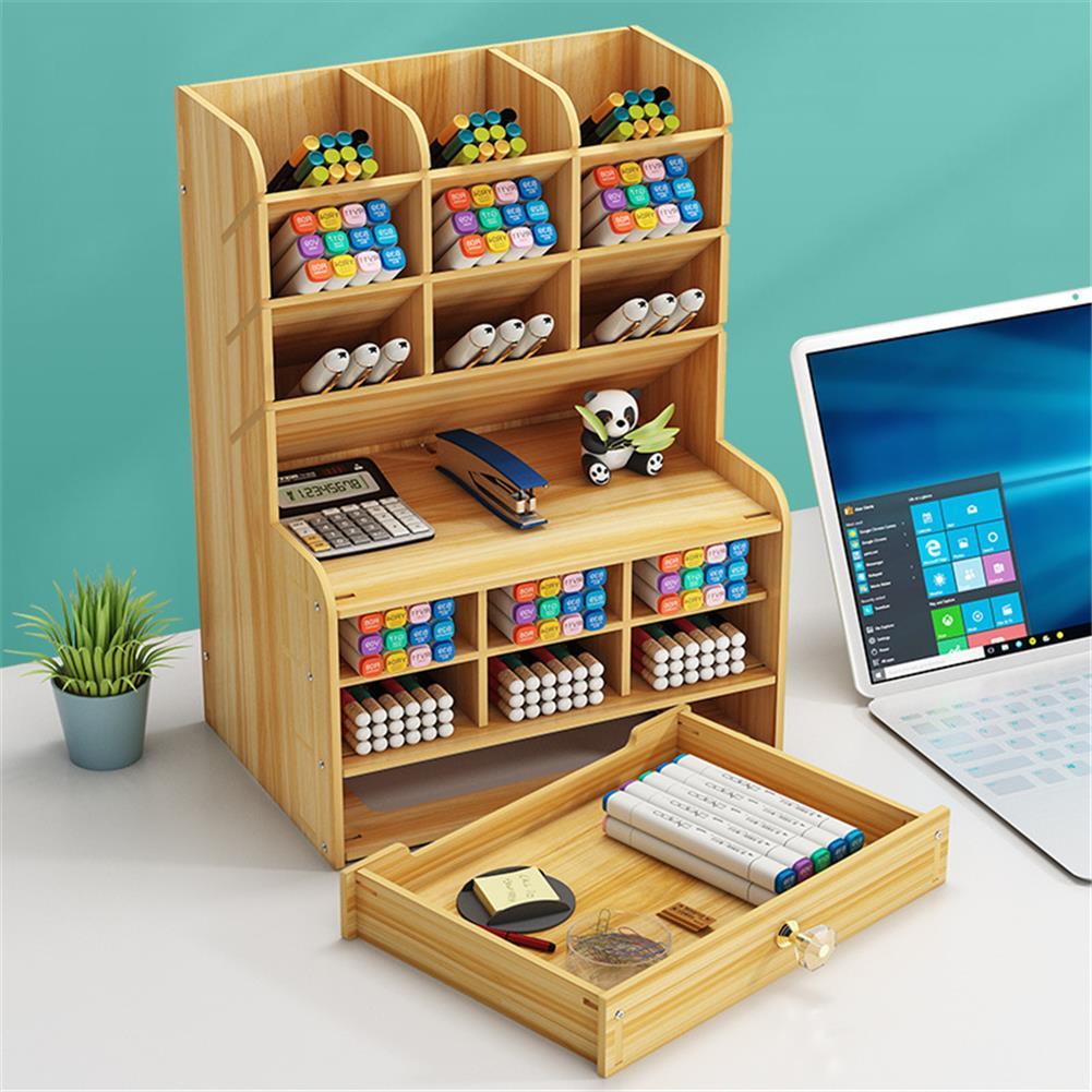 pen-holders, filing Wooden Pen Holder 7 Layers Multi-Functional DIY Desktop Stationary Organizer Home office Supply Storage Rack HOB1786750 1 1