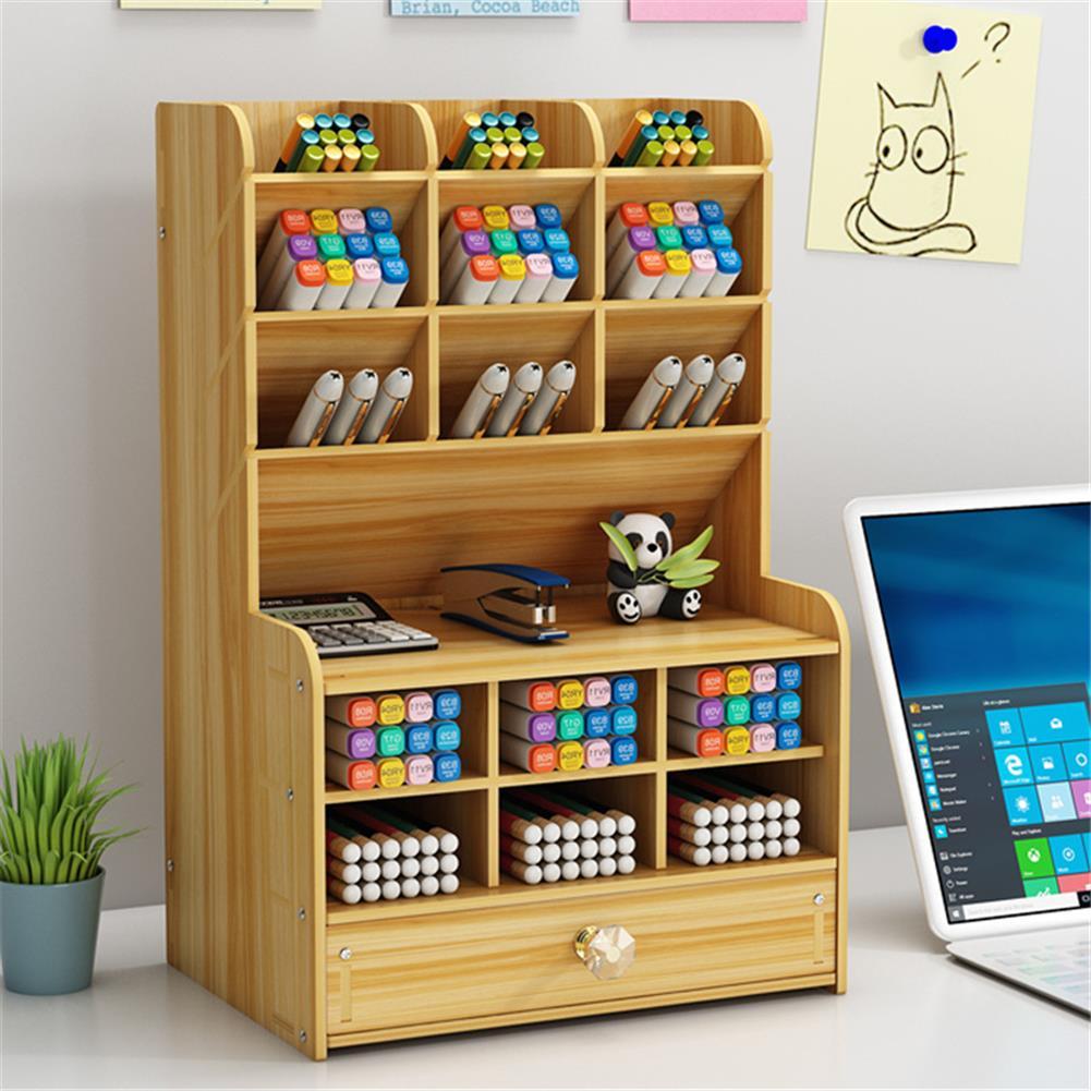 pen-holders, filing Wooden Pen Holder 7 Layers Multi-Functional DIY Desktop Stationary Organizer Home office Supply Storage Rack HOB1786750 2 1