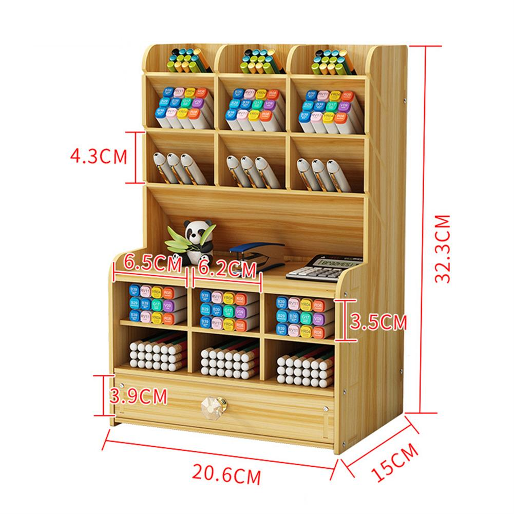 pen-holders, filing Wooden Pen Holder 7 Layers Multi-Functional DIY Desktop Stationary Organizer Home office Supply Storage Rack HOB1786750 3 1