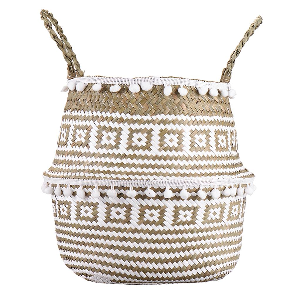 desktop-off-surface-shelves Seagrass Woven Storage Basket Plant Wicker Hanging Baskets Garden Flower Vase Potted Foldable Pot with Handle & Small Ball HOB1786824 1 1