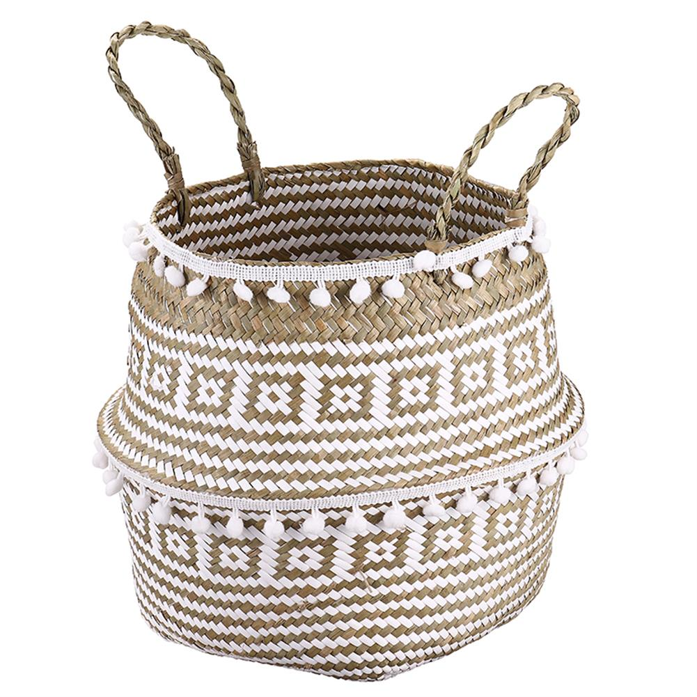 desktop-off-surface-shelves Seagrass Woven Storage Basket Plant Wicker Hanging Baskets Garden Flower Vase Potted Foldable Pot with Handle & Small Ball HOB1786824 2 1