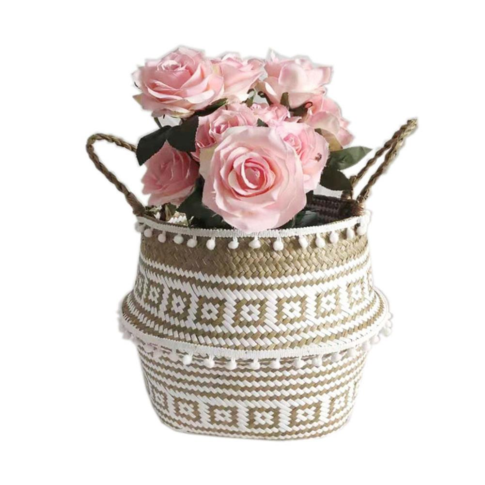 desktop-off-surface-shelves Seagrass Woven Storage Basket Plant Wicker Hanging Baskets Garden Flower Vase Potted Foldable Pot with Handle & Small Ball HOB1786824 3 1
