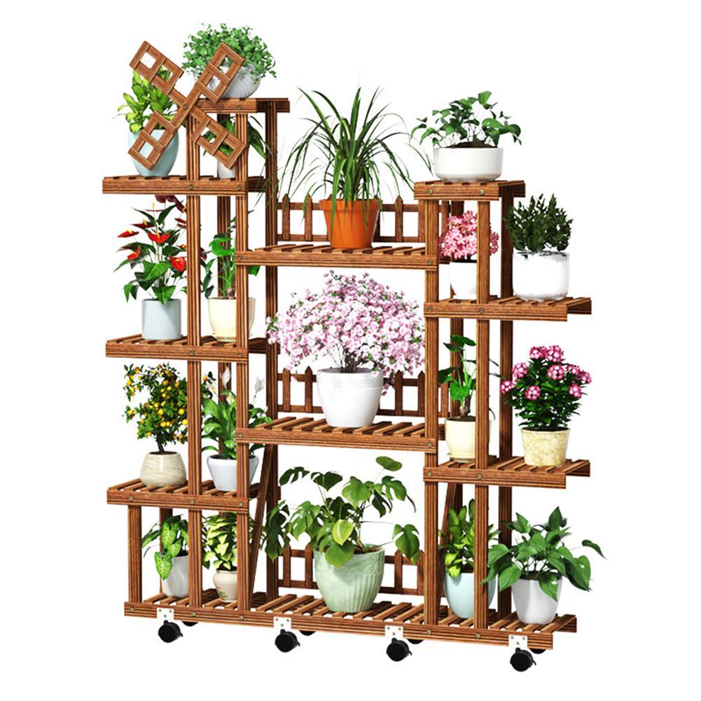 desktop-off-surface-shelves Plant Stand Windmill Flower Pot Shelves indoor Outdoor Garden Planter Flower Pot Stand Shelf Solid Wood Storage Rack HOB1787532 1