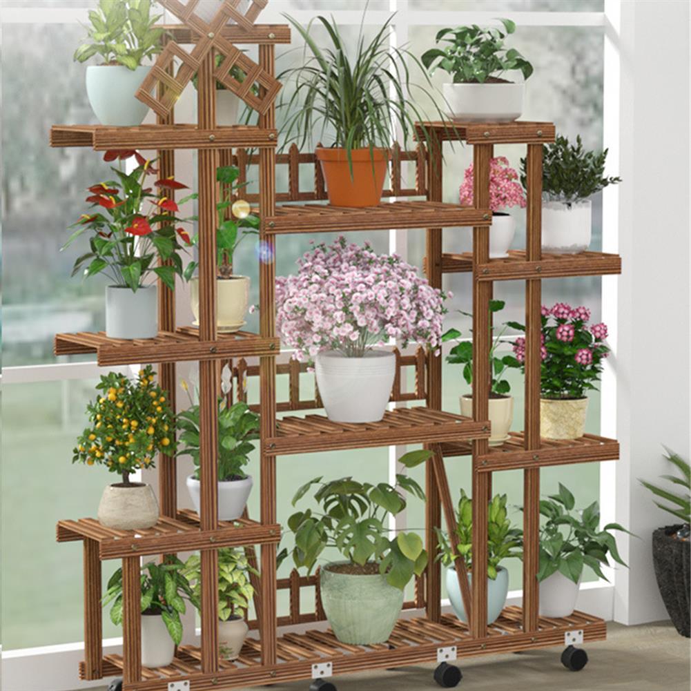 desktop-off-surface-shelves Plant Stand Windmill Flower Pot Shelves indoor Outdoor Garden Planter Flower Pot Stand Shelf Solid Wood Storage Rack HOB1787532 2 1
