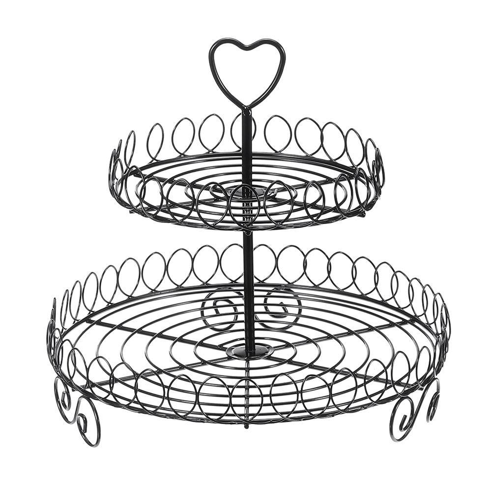other-learning-office-supplies 2 Tiers Cake Stand Black Metal Food Holder Tower Dessert Carrier Display for Wedding Birthday Party Decoration HOB1787686 1