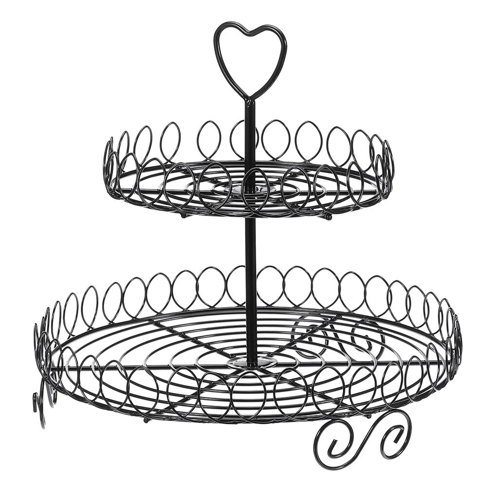 other-learning-office-supplies 2 Tiers Cake Stand Black Metal Food Holder Tower Dessert Carrier Display for Wedding Birthday Party Decoration HOB1787686 1 1