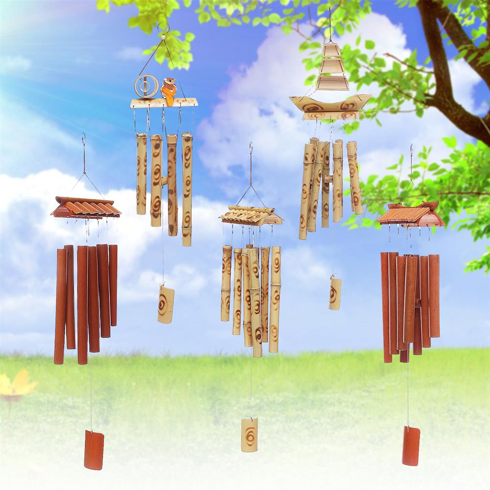 other-learning-office-supplies Bamboo Wind Chimes Natural Handmade Craft Wind Chimes for Home Roof Garden Decoration Bird House HOB1787903 1 1