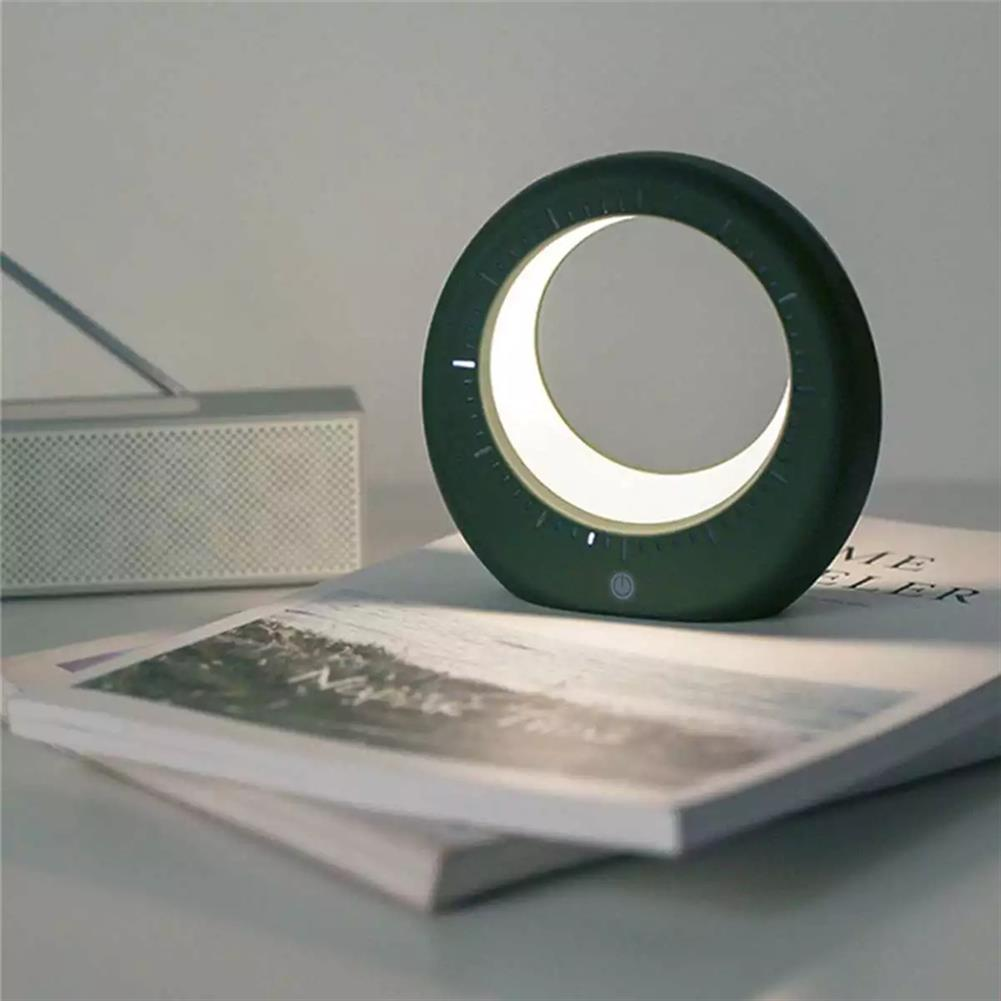 desktop-off-surface-shelves Moon Shaped Table Lamp Mini LED Electronic Digital Alarm Clock Multifunction Night Light for Bedside Room Birthday Gifts HOB1788629 1