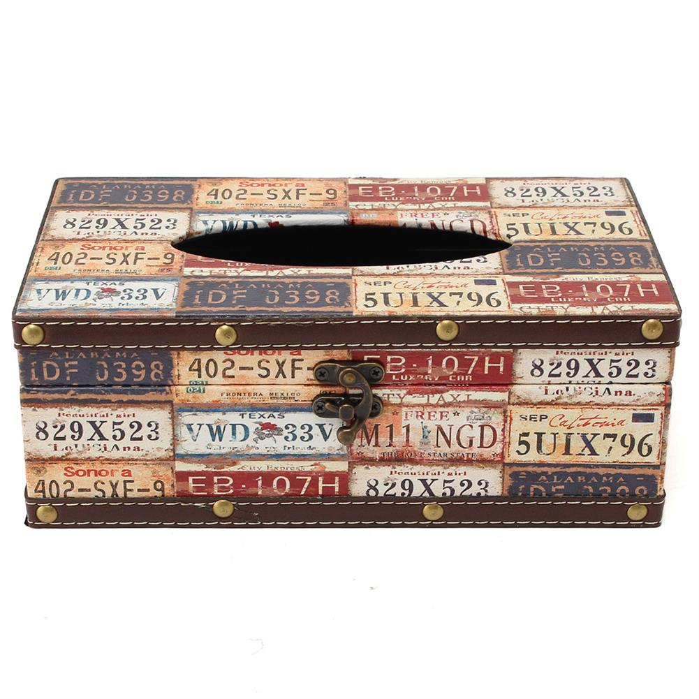 other-learning-office-supplies Retro Cortical Tissue Box Vehicle License Plate Number Pattern Towel Tube Pumping Tray Wooden Restaurant Napkin Box HOB1788819 1