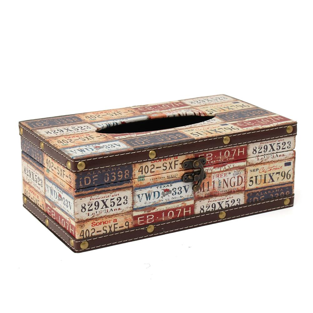 other-learning-office-supplies Retro Cortical Tissue Box Vehicle License Plate Number Pattern Towel Tube Pumping Tray Wooden Restaurant Napkin Box HOB1788819 1 1