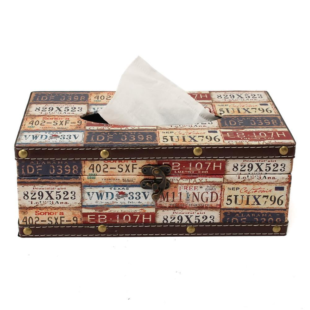 other-learning-office-supplies Retro Cortical Tissue Box Vehicle License Plate Number Pattern Towel Tube Pumping Tray Wooden Restaurant Napkin Box HOB1788819 2 1