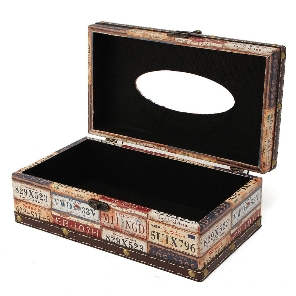 other-learning-office-supplies Retro Cortical Tissue Box Vehicle License Plate Number Pattern Towel Tube Pumping Tray Wooden Restaurant Napkin Box HOB1788819 3 1