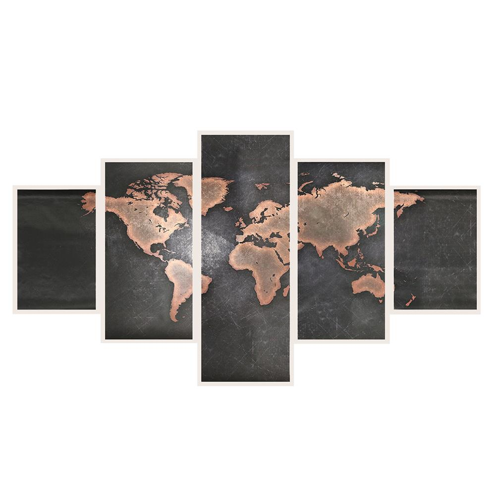 other-learning-office-supplies 5Pcs Modern Canvas Painting Set Frameless World Map theme Home Wall Tapestry Art Painting for Home Decoration HOB1789273 1