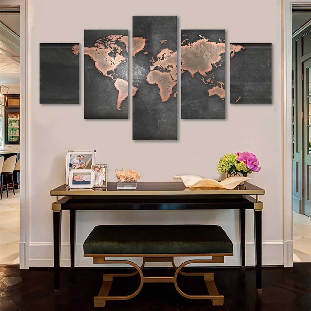 other-learning-office-supplies 5Pcs Modern Canvas Painting Set Frameless World Map theme Home Wall Tapestry Art Painting for Home Decoration HOB1789273 3 1