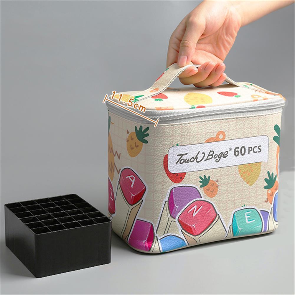 pen-holders, filing 60/80/120 Colors Marker Pen Storage Bag Rectangle Shape Large Capacity Leather Multifunction Storage Bag Pencil Case Supplies(Rectangle Version)(Marker Not included) HOB1789538 1