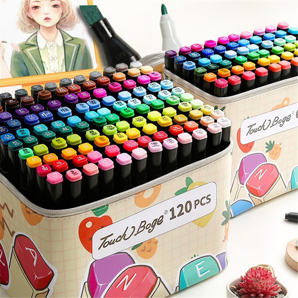 pen-holders, filing 60/80/120 Colors Marker Pen Storage Bag Rectangle Shape Large Capacity Leather Multifunction Storage Bag Pencil Case Supplies(Rectangle Version)(Marker Not included) HOB1789538 1 1