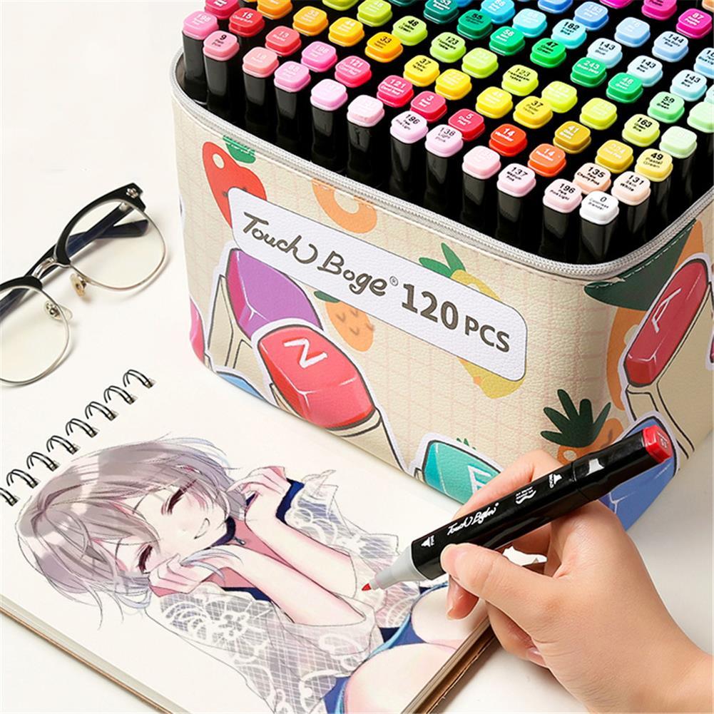 pen-holders, filing 60/80/120 Colors Marker Pen Storage Bag Rectangle Shape Large Capacity Leather Multifunction Storage Bag Pencil Case Supplies(Rectangle Version)(Marker Not included) HOB1789538 2 1