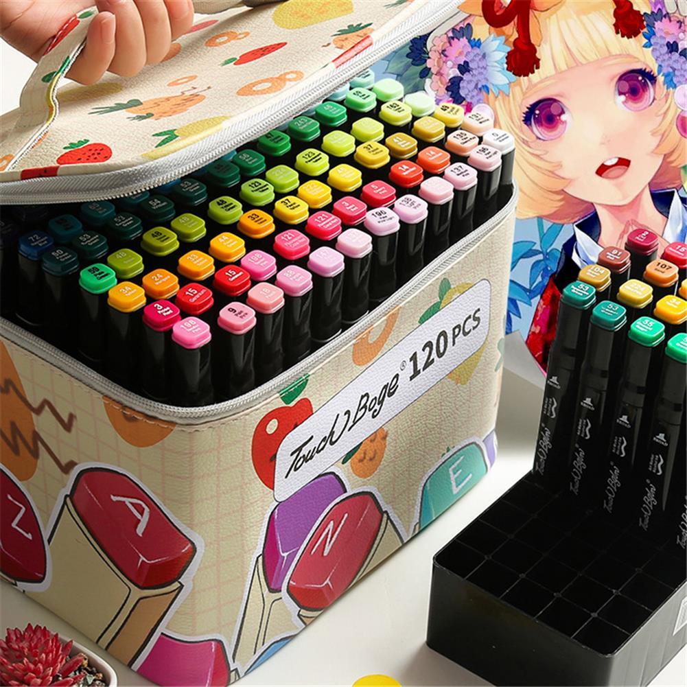 pen-holders, filing 60/80/120 Colors Marker Pen Storage Bag Rectangle Shape Large Capacity Leather Multifunction Storage Bag Pencil Case Supplies(Rectangle Version)(Marker Not included) HOB1789538 3 1