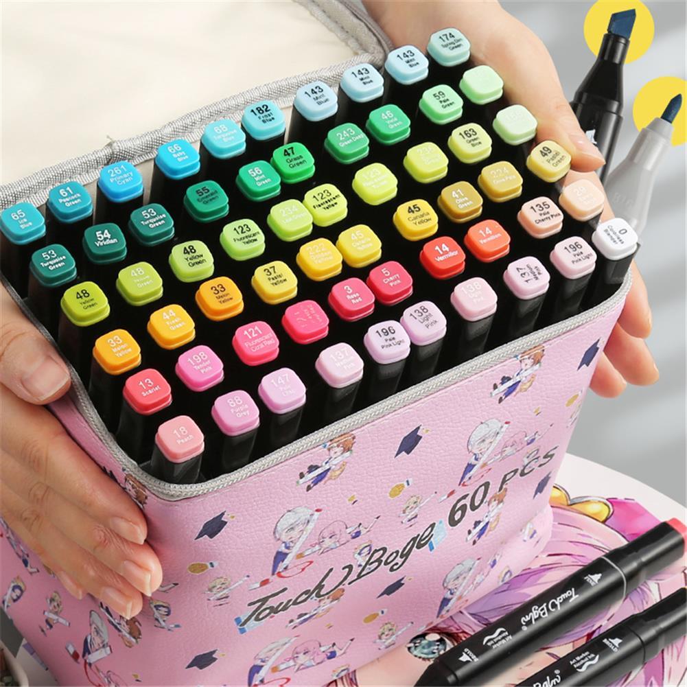pen-holders, filing 48 Colors Marker Pen Storage Bag Rectangle Shape Large Capacity Leather Multifunction Storage Bag Pencil Case Supplies(Pink Rectangle Version)(Marker not included) HOB1789539 2 1