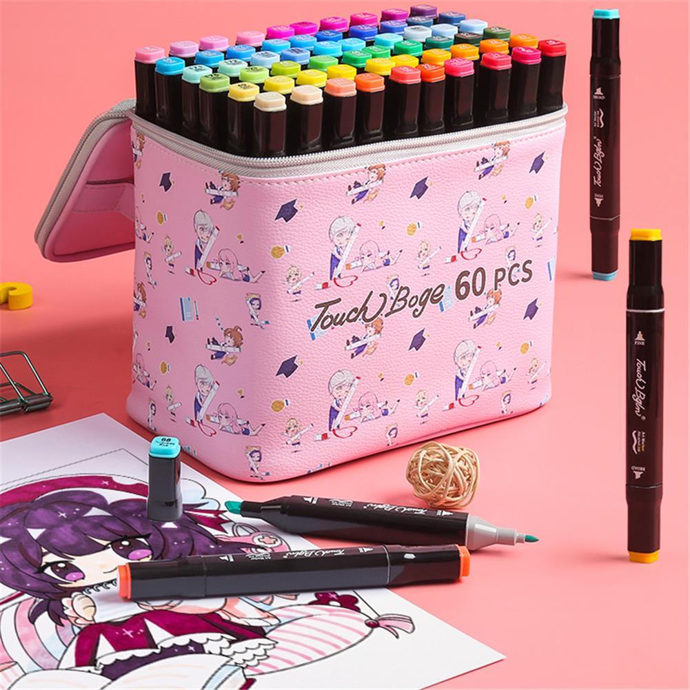 pen-holders, filing 48 Colors Marker Pen Storage Bag Rectangle Shape Large Capacity Leather Multifunction Storage Bag Pencil Case Supplies(Pink Rectangle Version)(Marker not included) HOB1789539 3 1