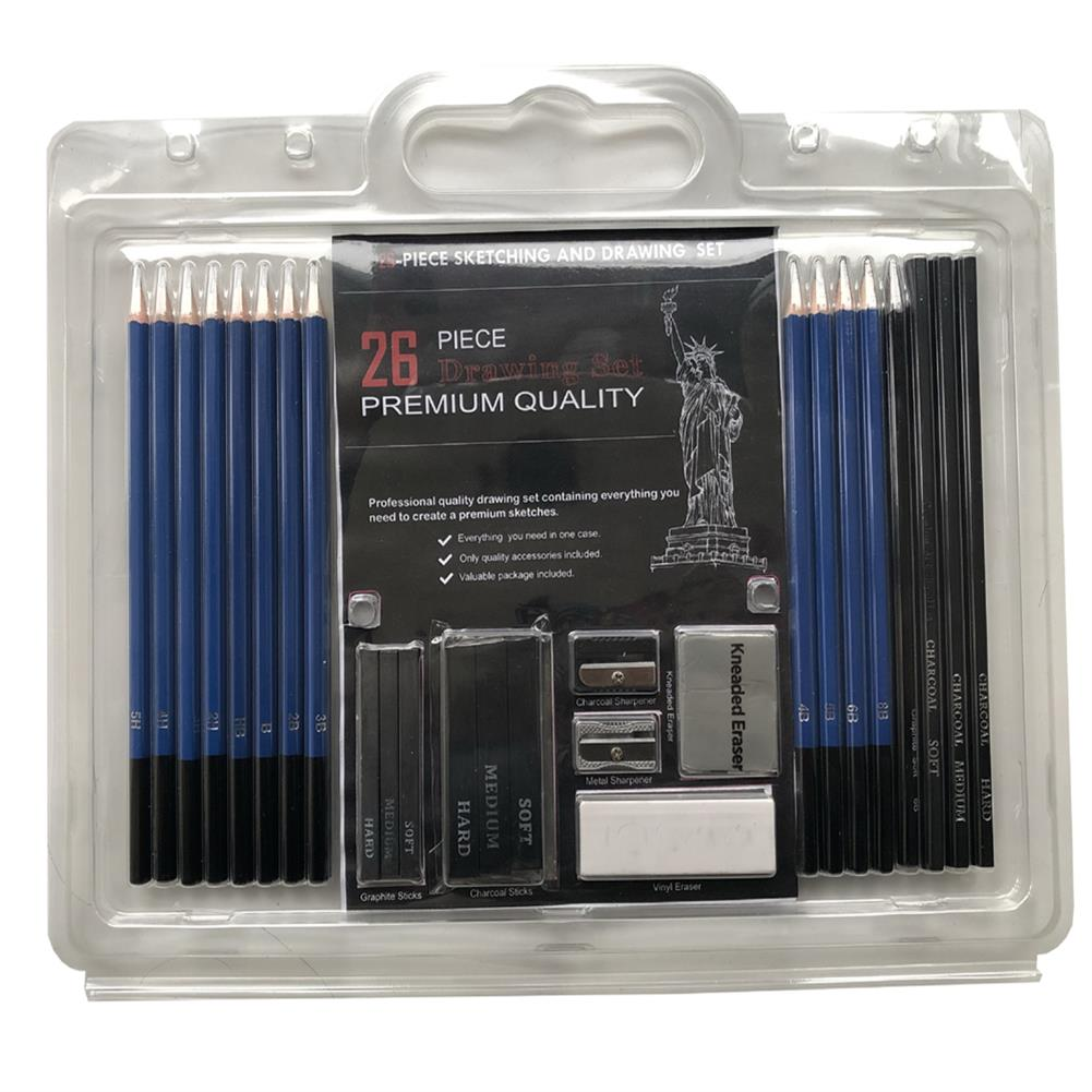 art-kit 26Pcs Sketching Pencil Set Premium Sketching Pencil Graphite Pencil with Eraser Pencil Sharpener Set Sketching Charcoal Painting Set for Beginner Professional Painters HOB1789611 1