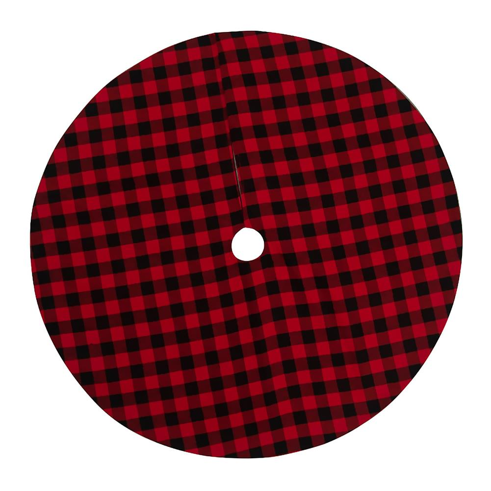 other-learning-office-supplies Christmas Tree Skirt Non Woven Fabric Black And Red Plaid Christmas Tree Mat Christmas Gift Holder for Home Party Decoration HOB1789800 1