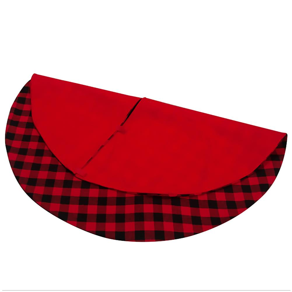 other-learning-office-supplies Christmas Tree Skirt Non Woven Fabric Black And Red Plaid Christmas Tree Mat Christmas Gift Holder for Home Party Decoration HOB1789800 1 1