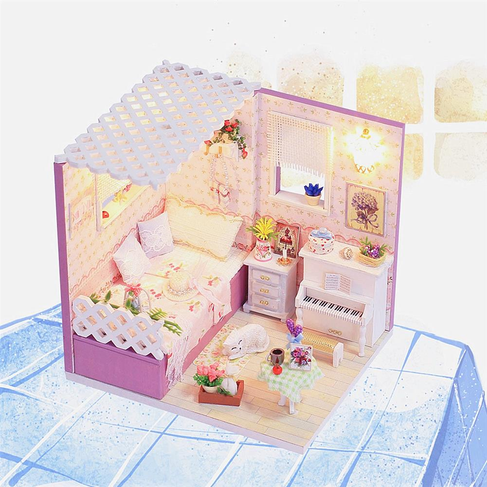 other-learning-office-supplies DIY Wooden Doll House Room Furniture Set LED Light Miniature Girl Princess Christmas Room Puzzle Toy Gift Decor HOB1789833 1 1