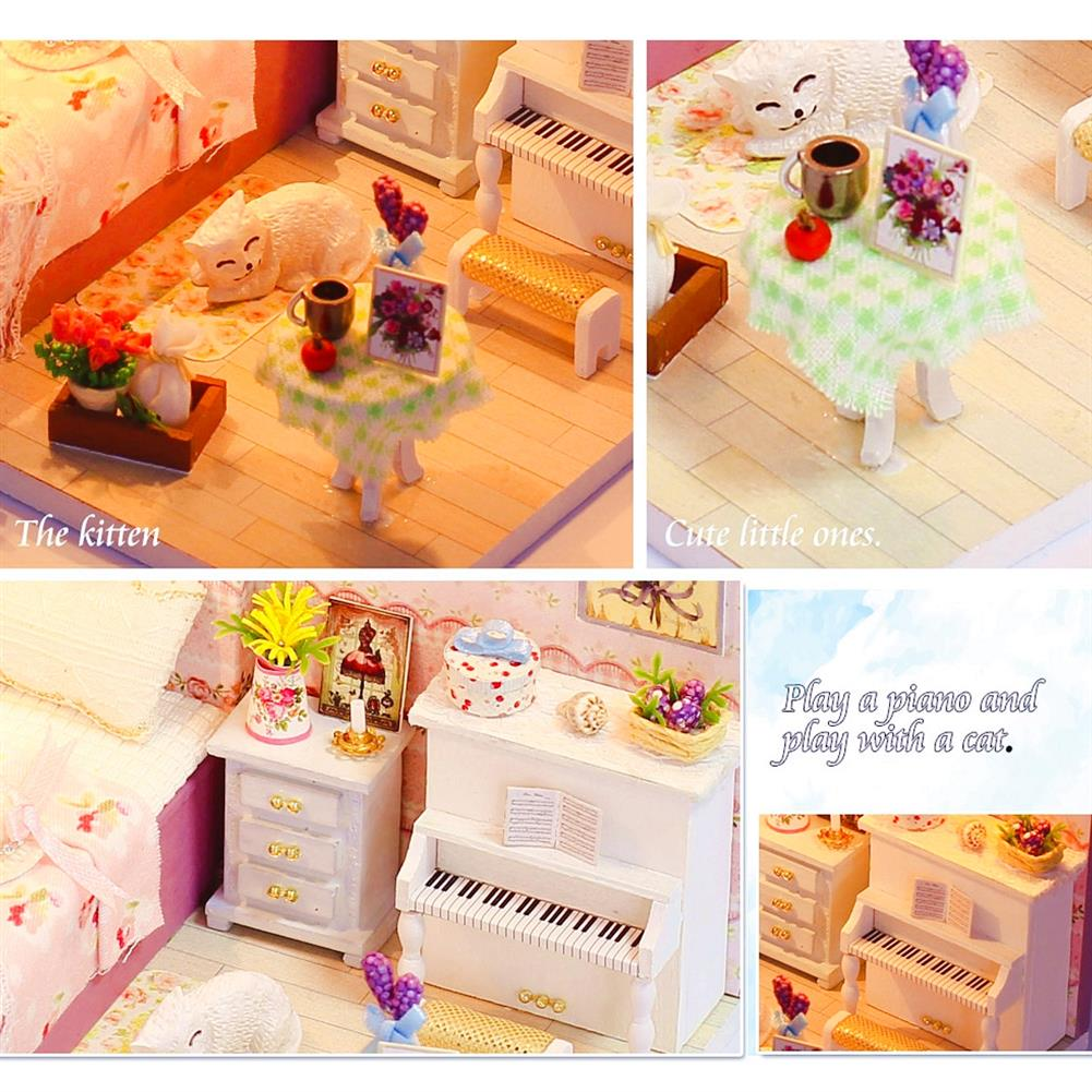 other-learning-office-supplies DIY Wooden Doll House Room Furniture Set LED Light Miniature Girl Princess Christmas Room Puzzle Toy Gift Decor HOB1789833 2 1