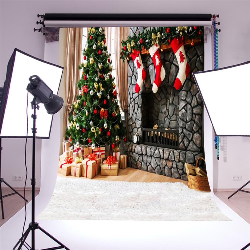 other-learning-office-supplies Photography Backdrop 1.5x2.1m Christmas Tree Red Socks Backdrop Vinyl Photography Photo Background for Home Decoration HOB1789841 3 1